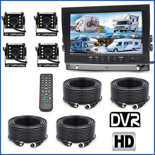 【新品】Padarsey Backup Camera System, 4 Split Screen 9'' Quad View Display HD Monitor with DVR Recording Function, Waterproof Night Vis