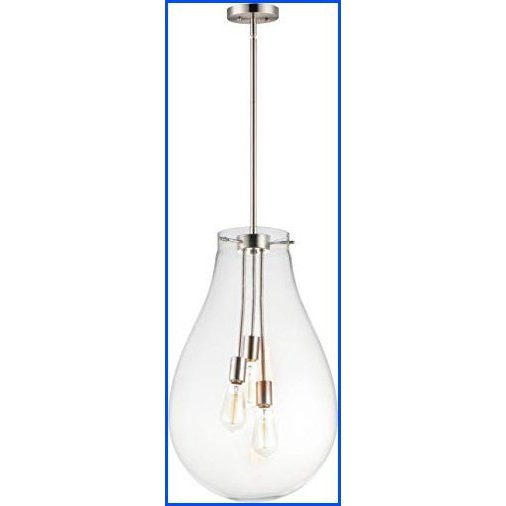 """【新品】Maxim 10164CLSN Gourd Large-scale Hand Crafted Clear Glass Pear Shape Pendant Ceiling Light, 3-Lights 180 Total Watts, 25""""H x 16"""