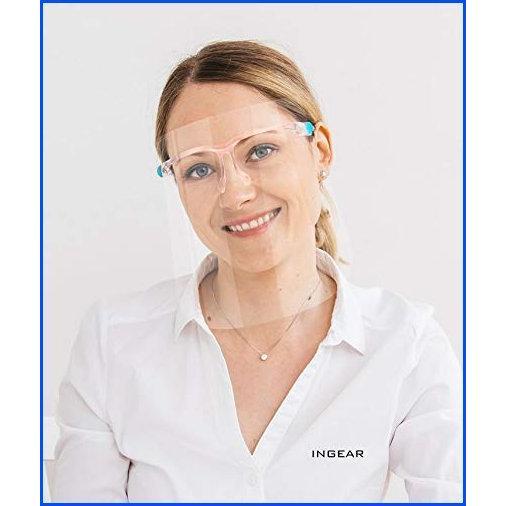 【新品】Ingear Protective Face Shield, Fully Transparent Face and Eye Protection with Reusable Glasses and Replaceable Shield, Anti-Fog