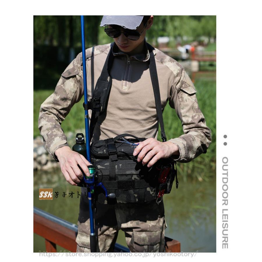ショルダーバッグ ウエストバッグ 釣り バッグ 3way 防水 フィッシングバック 迷彩柄 大容量 多機能 バッグ カバン かばん|yoshikootory|04