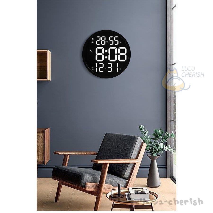 温湿度計 高輝度 LED バックライトマルチ 温度計 湿度計 時計 大画面  壁掛け壁掛け時計3D LED デジタル 柱時計温度計LEDデジタル柱時計|yoshiyoshikozumi|02