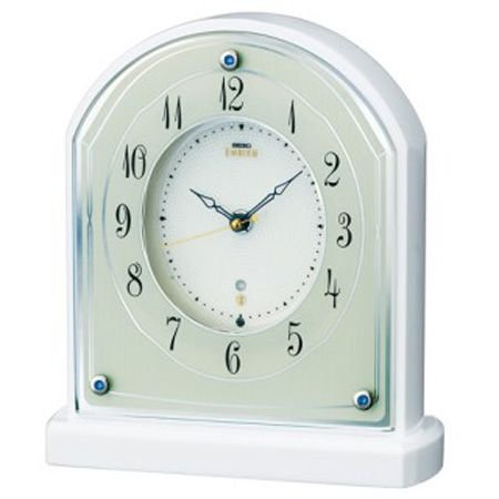 セイコー SEIKO 電波置時計 エムブレム HW587W 木枠白塗装光沢仕上げ