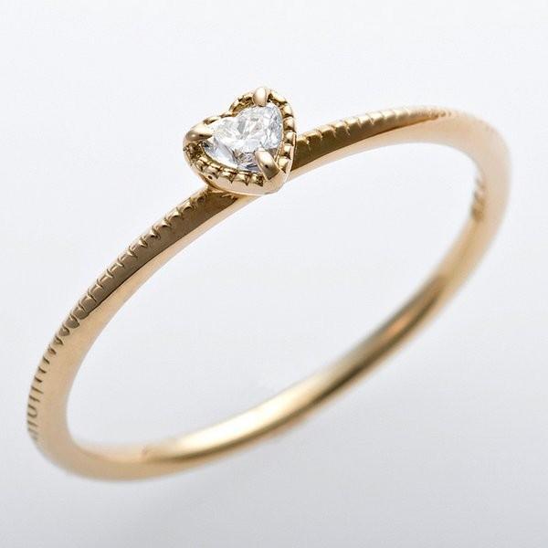 超特価激安 K10イエローゴールド 天然ダイヤリング 指輪 ダイヤ0.05ct 11号 アンティーク調 プリンセス ハートモチーフ, MRlab 94192677