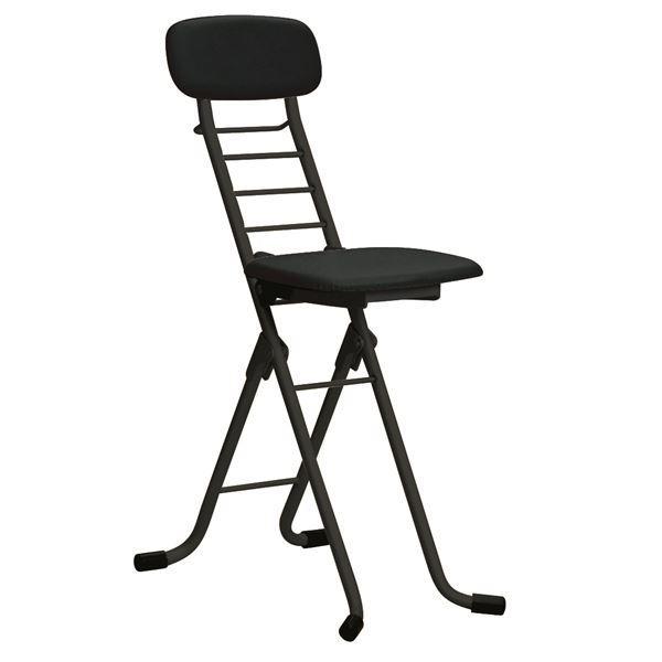 折りたたみ椅子 折りたたみ椅子 〔4脚セット ブラック×ブラック〕 幅35cm 日本製 高さ6段調節 スチールパイプ 『カラーリリィチェア』〔代引不可〕