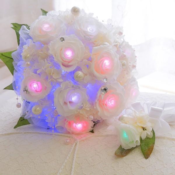 ウェディングブーケ 7色に光る「シャイニーブーケ」 送料無料 ウエディングブーケ ブライダル ブーケ プリザーブドフラワー バラ 結婚式 花