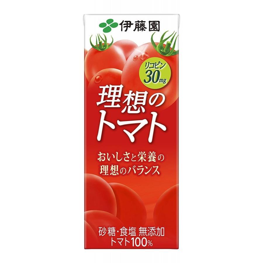 トマトジュース 伊藤園 理想のトマト 紙パック 200ml×24本|youbetsuen-y
