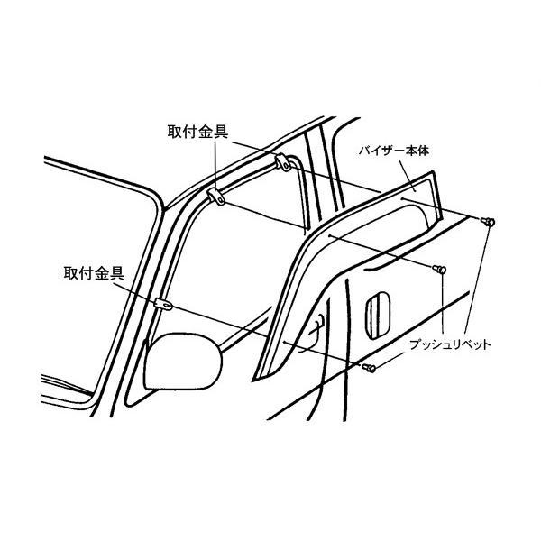 【新車にもおススメ】ドアサイドバイザー ハイエース200系 1- 6型 ワイドにも対応【フロント1台分2PCSセット】|yourparts|03