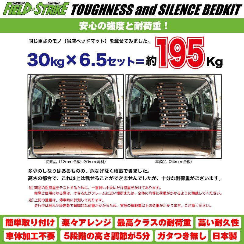ハイエース ベッドキット トランポ仕様 200系 S-GL ワイドボディ用 1-6型 対応 [ボックスタイプ/パンチカーペット/ダークグレー] Field Strike yourparts 06