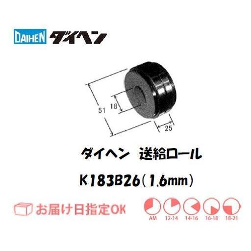 ダイヘン ソリッドワイヤ用送給ロール(1.6mm) K183B26
