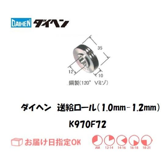 ダイヘン アルミワイヤ用送給ロール(1.0mm-1.2mm) K970F72