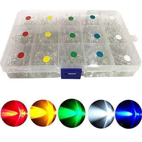 BestgleLED 発光ダイオード3mm750ピース 透明ダイオードセット F3 LEDセット白黄赤緑青各150個 L yoyogiha