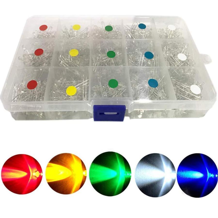 BestgleLED 発光ダイオード3mm750ピース 透明ダイオードセット F3 LEDセット白黄赤緑青各150個 L yoyogiha 05