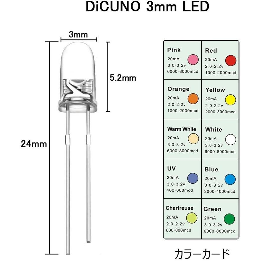 DiCUNO 発光ダイオード 3mm 10色 透明LEDセット 赤/青/白/橙/黄/緑/ピンク/紫/電球色/鶸色 各20個 透明 200個入 yoyogiha 06