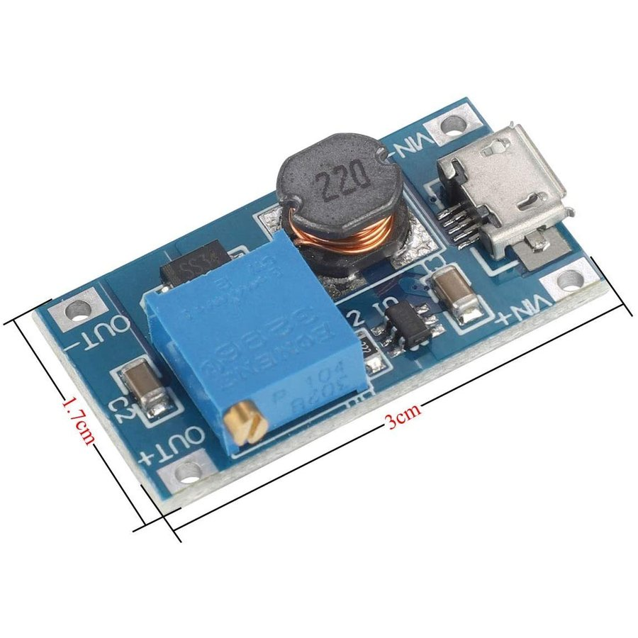 VKLSVAN 10個 2A DC-DC ブーストステップアップ 転換モジュール Micro USB 2V-24V to 5V-28V 9V yoyogiha 08