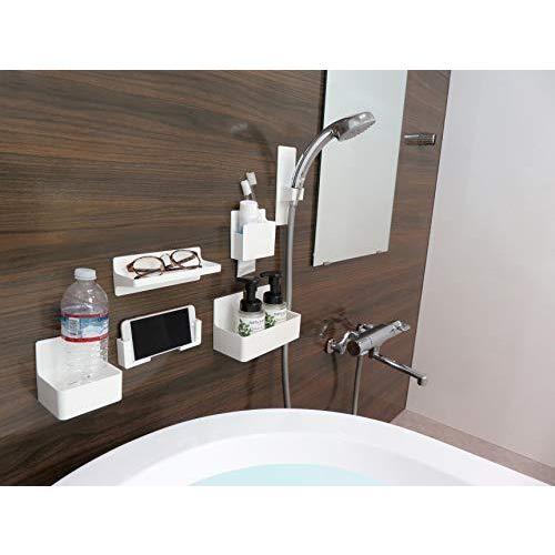 東和産業 浴室用ラック ホワイト 約28.3×9.4×11.2cm 磁着SQ マグネット バスポケット ワイド 39208|yschoice|06