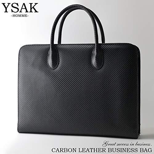 YSAK カーボンレザー ビジネスバック カバン メンズ 本革 大容量 高級 A4サイズ PC収納 イタリアンレザー ysy 02