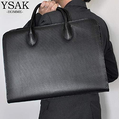 YSAK カーボンレザー ビジネスバック カバン メンズ 本革 大容量 高級 A4サイズ PC収納 イタリアンレザー ysy 07