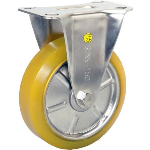 TR シシク ステンレスキャスター 制電性ウレタン車輪付固定 1個
