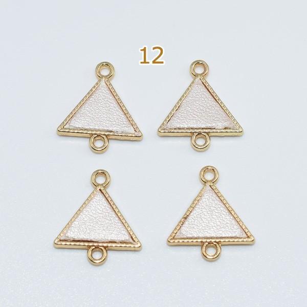 チェーンパーツ チャームパーツ模様入り 2カン付き 三角形革貼り yu-beads-parts 05