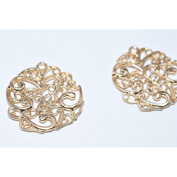 チャームパーツ 透かし丸 20×20mm ゴールド【15ヶ】|yu-beads-parts|05