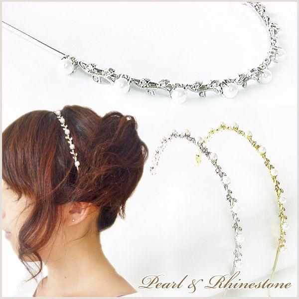 カチューシャ 結婚式 お呼ばれ パーティー ドレス 上品エレガントパール&ラインストーン葉っぱつるカチューシャkc57|yu-bi
