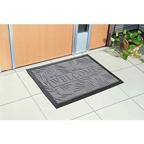 イケヒコ 玄関マット ステイ グレー 約40×60cm リーフ柄 洗える マット #2038109|yua-ray