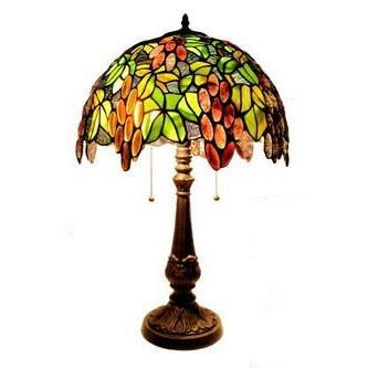 ステンドグラス ランプ 2灯 大型 ナギットのブドウ柄 直径42cm 高さ68cm