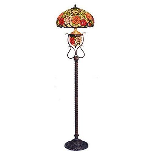 ステンドフロアーランプ バラ柄 幅42cm 高さ160cm 重さ約10kg バラ柄 幅42cm 高さ160cm 重さ約10kg バラ柄 幅42cm 高さ160cm 重さ約10kg ステンドグラス ランプ 9cd