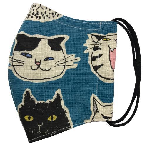 ネコ柄布マスク 裏側素材選択可。春夏用にはさらさらとしたメッシュ、秋冬用には肌触りも良いダブルガーゼ|yume-ribbon|02