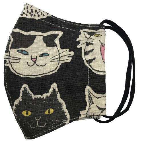 ネコ柄布マスク 裏側素材選択可。春夏用にはさらさらとしたメッシュ、秋冬用には肌触りも良いダブルガーゼ|yume-ribbon|03