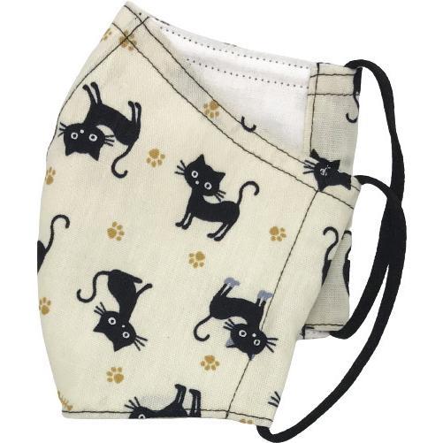 黒猫と足跡柄の布マスク。裏側素材選択可。春夏用にはさらさらとしたメッシュ、秋冬用には肌触りも良いダブルガーゼ|yume-ribbon|02