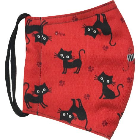 黒猫と足跡柄の布マスク。裏側素材選択可。春夏用にはさらさらとしたメッシュ、秋冬用には肌触りも良いダブルガーゼ|yume-ribbon|11