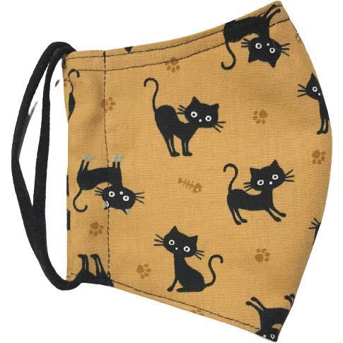 黒猫と足跡柄の布マスク。裏側素材選択可。春夏用にはさらさらとしたメッシュ、秋冬用には肌触りも良いダブルガーゼ|yume-ribbon|12