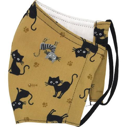 黒猫と足跡柄の布マスク。裏側素材選択可。春夏用にはさらさらとしたメッシュ、秋冬用には肌触りも良いダブルガーゼ|yume-ribbon|03