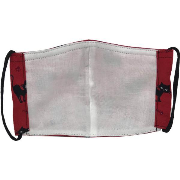 黒猫と足跡柄の布マスク。裏側素材選択可。春夏用にはさらさらとしたメッシュ、秋冬用には肌触りも良いダブルガーゼ|yume-ribbon|05