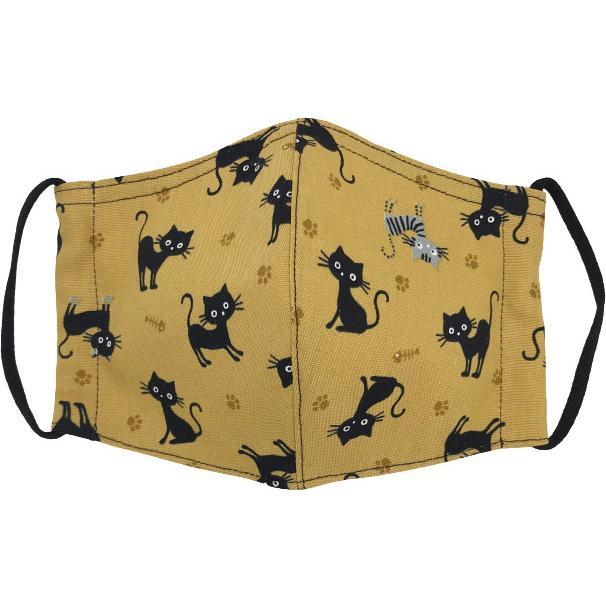 黒猫と足跡柄の布マスク。裏側素材選択可。春夏用にはさらさらとしたメッシュ、秋冬用には肌触りも良いダブルガーゼ|yume-ribbon|07
