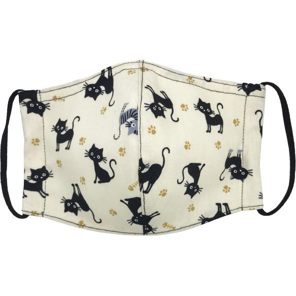 黒猫と足跡柄の布マスク。裏側素材選択可。春夏用にはさらさらとしたメッシュ、秋冬用には肌触りも良いダブルガーゼ|yume-ribbon|09