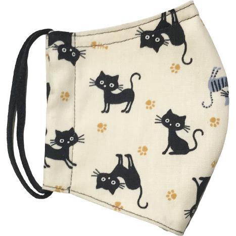 黒猫と足跡柄の布マスク。裏側素材選択可。春夏用にはさらさらとしたメッシュ、秋冬用には肌触りも良いダブルガーゼ|yume-ribbon|10
