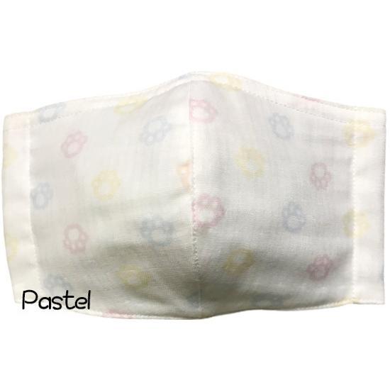 ガーゼに肉球柄プリントの布マスク  ふんわりダブルガーゼダ 猫 犬 日本製 コットン100%|yume-ribbon|08