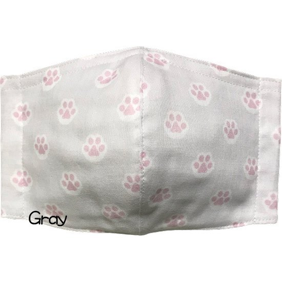 ガーゼに肉球柄プリントの布マスク  ふんわりダブルガーゼダ 猫 犬 日本製 コットン100%|yume-ribbon|09
