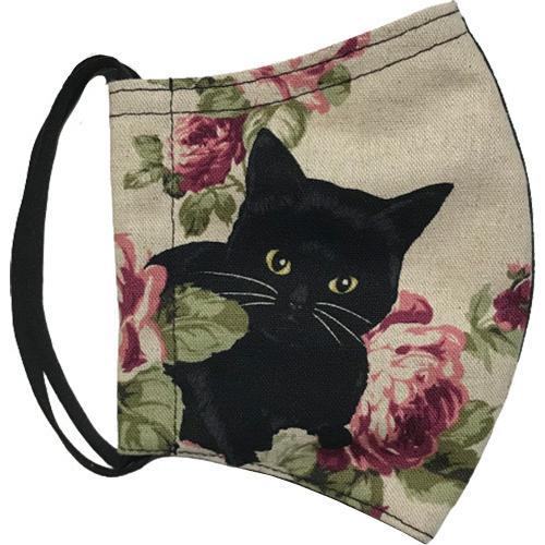 オールドローズと黒猫のアンティーク調布マスク コットンリネンキャンバス生地 日本製|yume-ribbon|02
