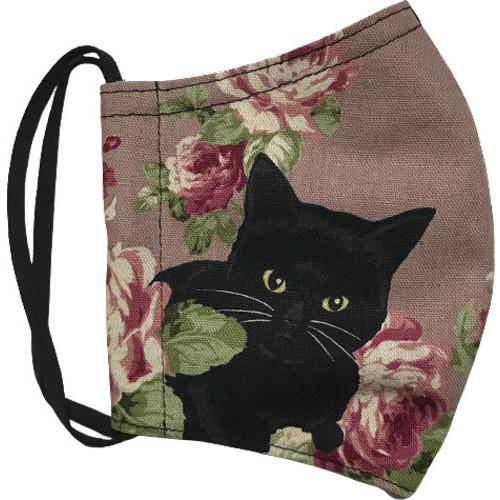 オールドローズと黒猫のアンティーク調布マスク コットンリネンキャンバス生地 日本製|yume-ribbon|03