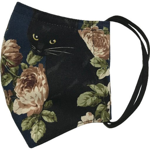 オールドローズと黒猫のアンティーク調布マスク コットンリネンキャンバス生地 日本製|yume-ribbon|04