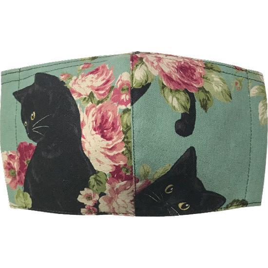 オールドローズと黒猫のアンティーク調布マスク コットンリネンキャンバス生地 日本製|yume-ribbon|06