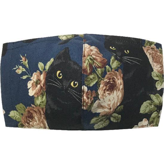 オールドローズと黒猫のアンティーク調布マスク コットンリネンキャンバス生地 日本製|yume-ribbon|07