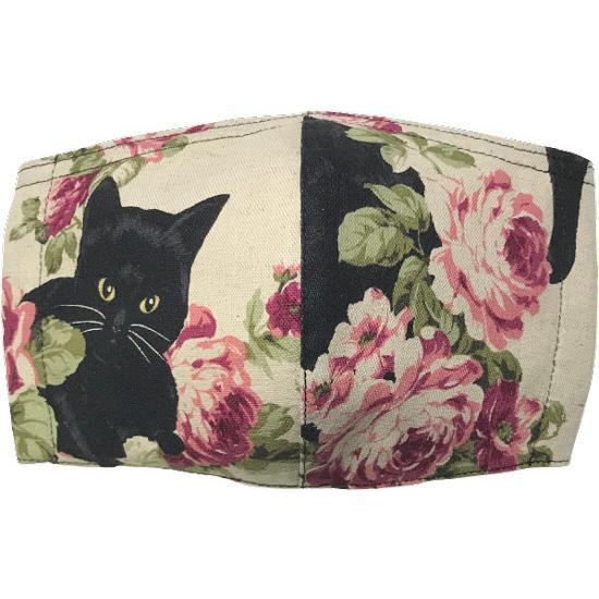 オールドローズと黒猫のアンティーク調布マスク コットンリネンキャンバス生地 日本製|yume-ribbon|08