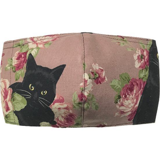 オールドローズと黒猫のアンティーク調布マスク コットンリネンキャンバス生地 日本製|yume-ribbon|09