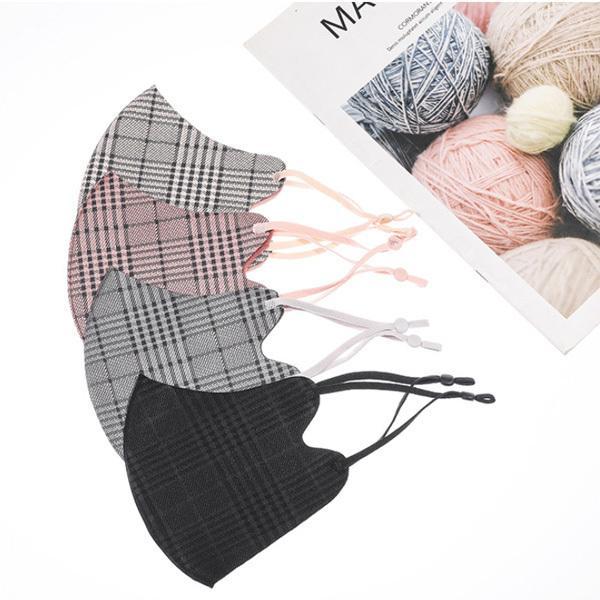 格子柄おしゃれあったか 秋冬マスク フリーサイズ まとめ買い 5枚セット アジャスター付き耳紐  yume-ribbon 04