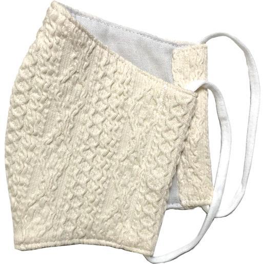 アラン模様ニットを表側に、抗菌作用のあるダブルガーゼを内側に使ったあったか布マスク 日本製|yume-ribbon|05