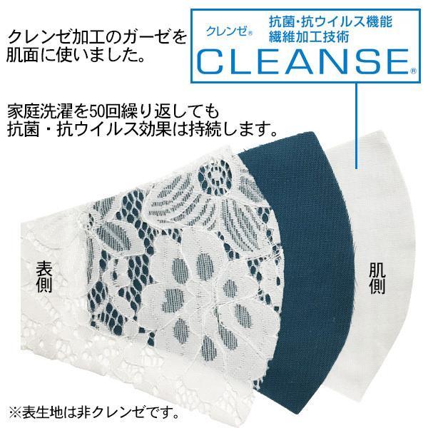 レースのおしゃれなスリムマスク。カラーガーゼと抗ウイルス・抗菌ガーゼを組み合わせての3層構造。50回洗っても抗菌作用は持続します。日本製|yume-ribbon|03
